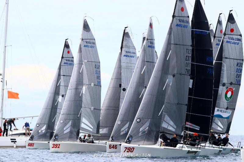 Melges 24 fleet in Portoroz - Day Three of the 2019 Melges 24 European Sailing Series' 1st event. Photo (c) Andrea Carloni/IM24CA/ZGN