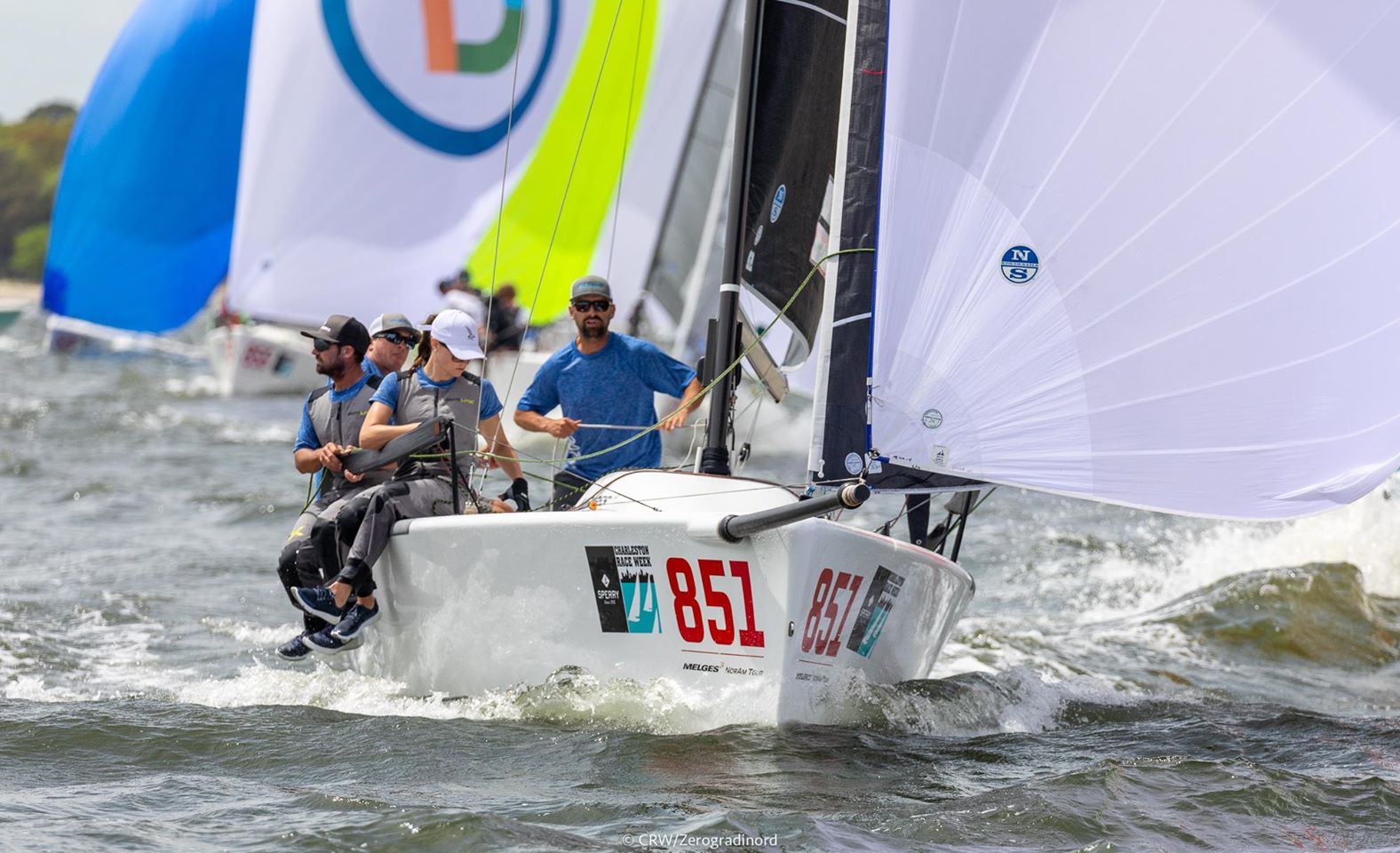 Melges 24 stalwart Bruce Ayres and his team on Monsoon USA851, were leading the regatta until the final day and finished second, tied in points with the winner. Photo: Zerogradinord / Mauro Melandri