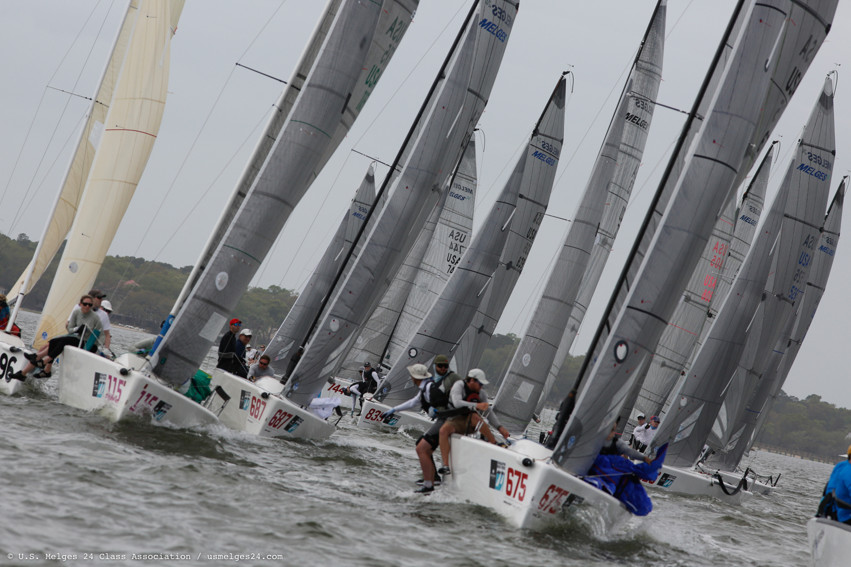 Melges 24 fleet at the Sperry Charleston Race Week 2019. Photo (c) U.S. Melges 24 Class Association,  usmelges24.com