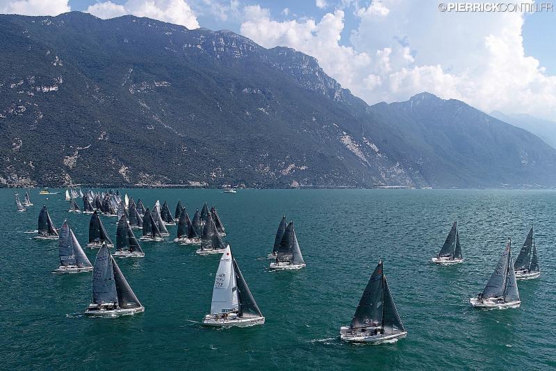 Melges 24 fleet on Lake Garda at the 2018 Melges 24 Europeans in August 2018. Photo (c) Pierrick Contin
