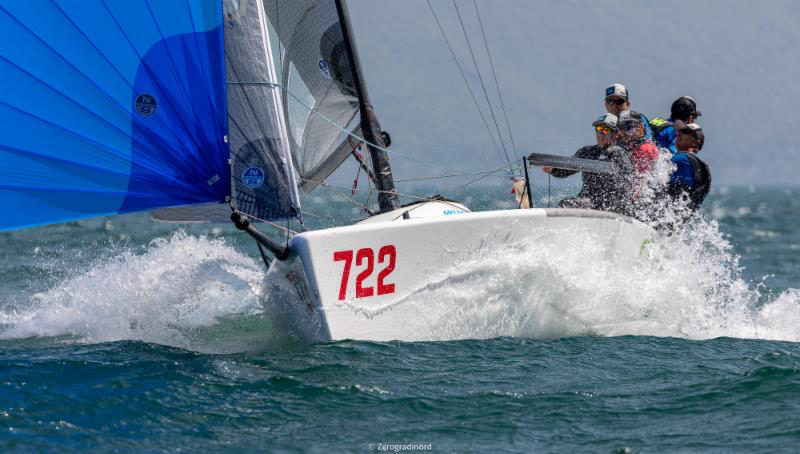 Altea ITA722 by Andrea Racchelli, with partial scores of 1-1-5, is the boat of the day in Riva del Garda.  Photo (c)IM24CA/Zerogradinord