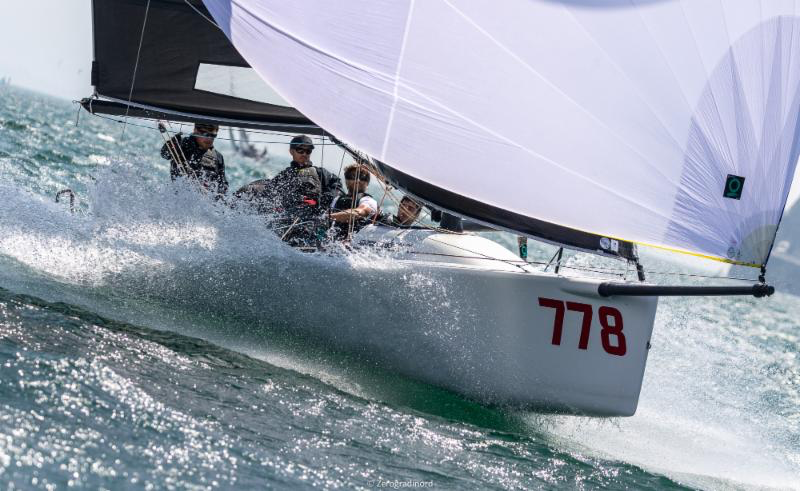 Marco Zammarchi's Taki 4 with Niccolo Bertola at the helm taking the second place on the provisional podium of the 2019 Melges 24 European Sailing Series ranking. Photo (c) IM24CA/Zerogradinord