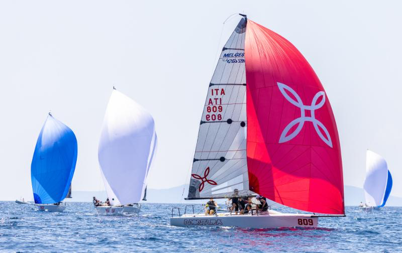 Arkanoè by Montura , with Sergio Caramel in helm, is leading the Corinthian division after Day One in Scarlino. Photo @IM24CA/Zerogradinord