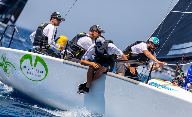 The second place of the ranking is for the World Champions onboard  Altea  by Andrea Racchelli, boat of the day in this second day in Scarlino, with excellent partial scores of 1-2-3. Photo @IM24CA/Zerogradinord