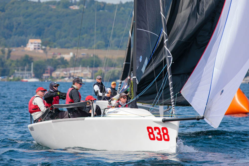 Kevin Welch' s  MiKEY  with Jeff Madrigali at the helm celebrated a moderate day winning Race 2. - © Bill Crawford - Harbor Pictures Company