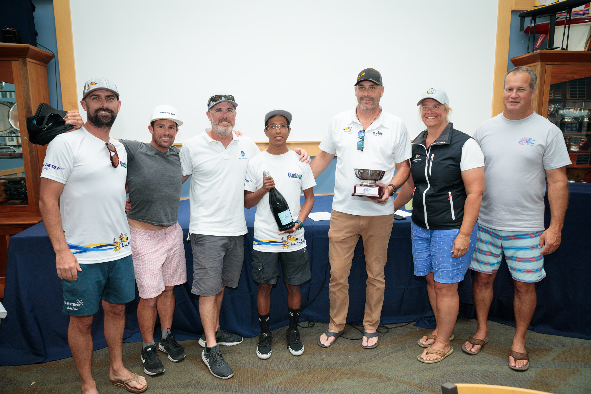 1st Place, 2019 Melges 24 North American Champions -  Lucky Dog/Gill Race Team : Travis Weisleder, Mike Buckley, George Peet, John Bowden and Chewy Sanchez. © Bill Crawford - Harbor Pictures Company