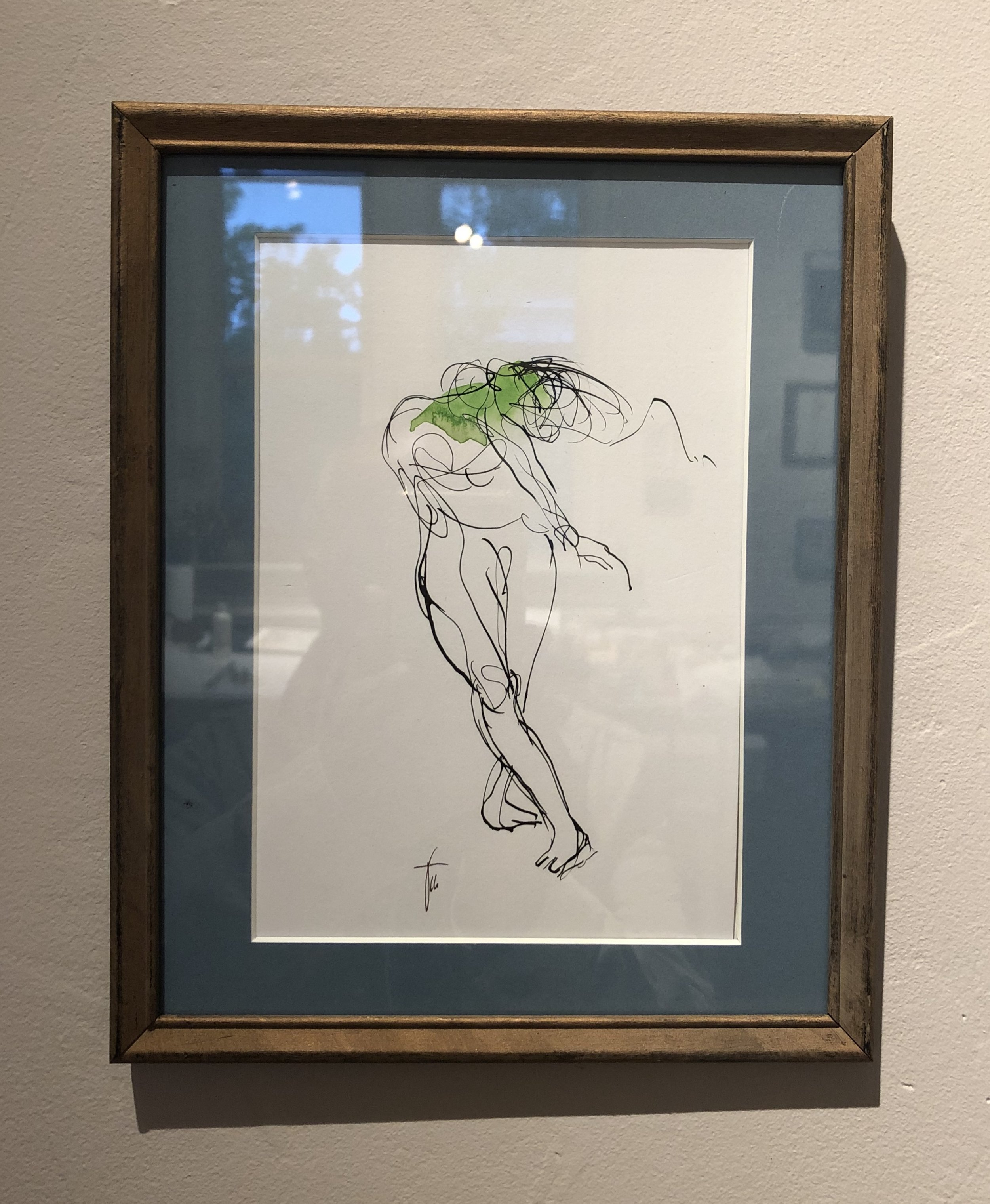 Dance, dance. Ink drawing in finished frame.
