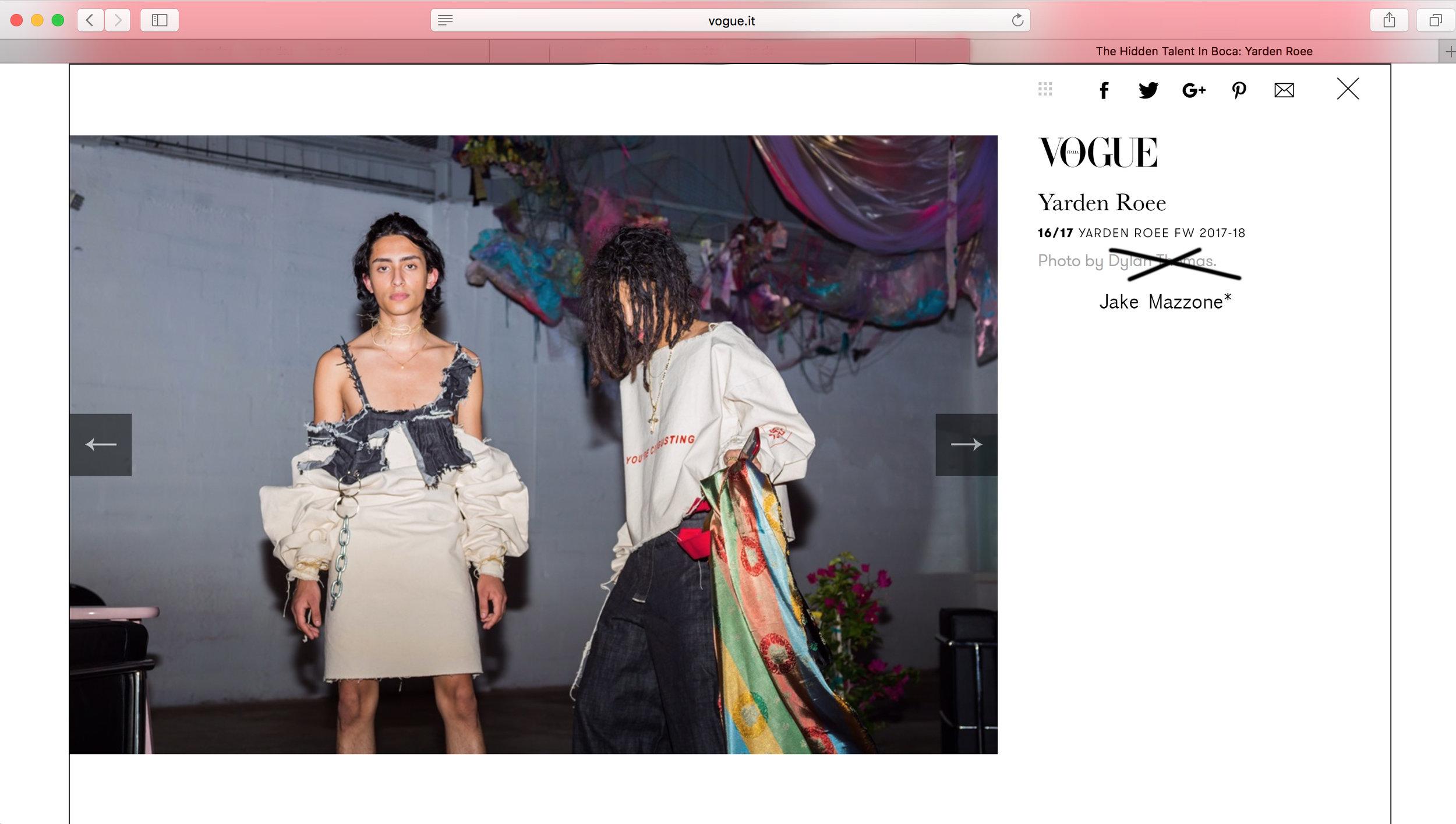 Vogue Italia Jake Mazzone