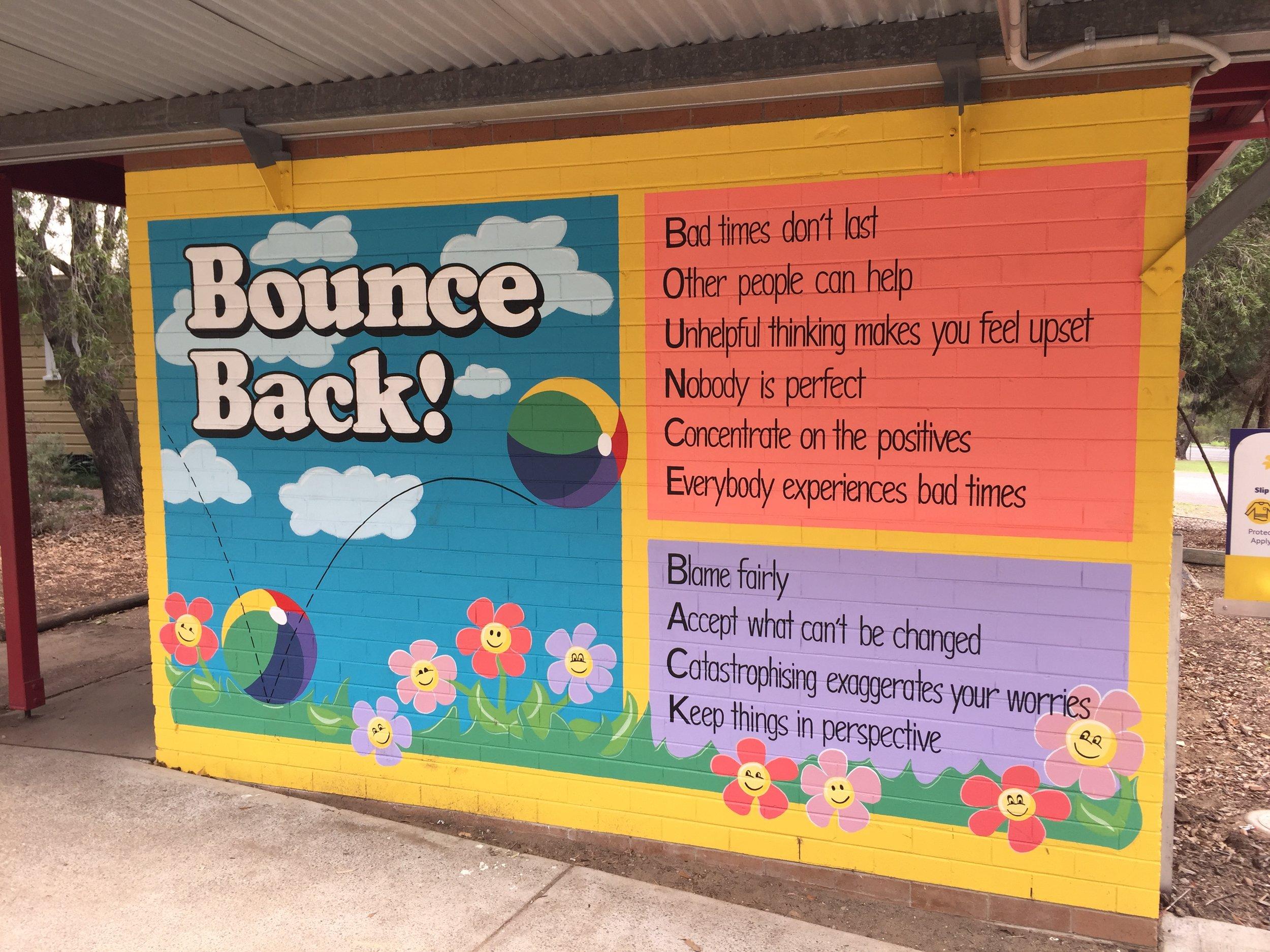 Bounce Back! at Ellalong Public School, NSW. Artist: Merryn McDonald.