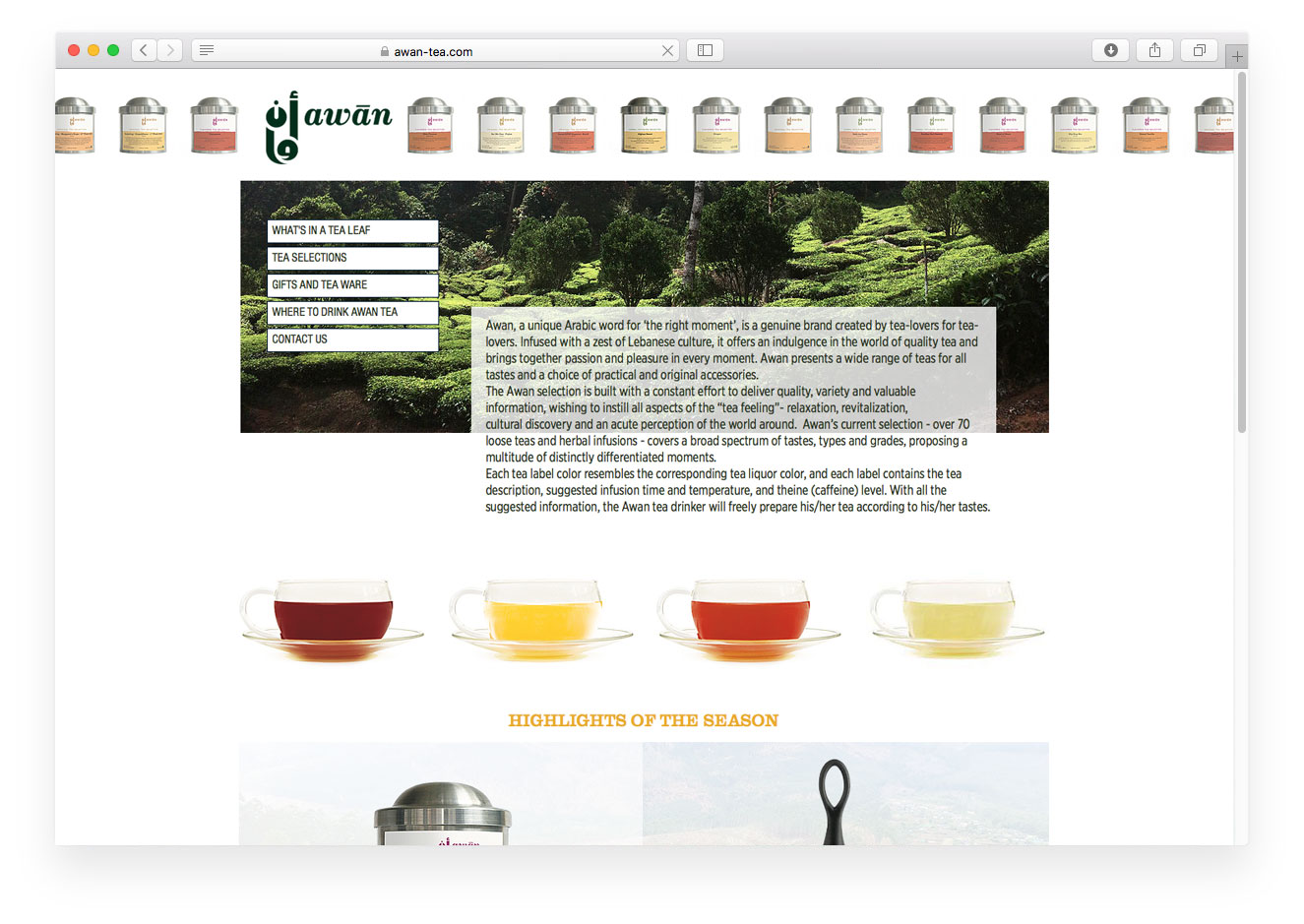 Awan Tea website