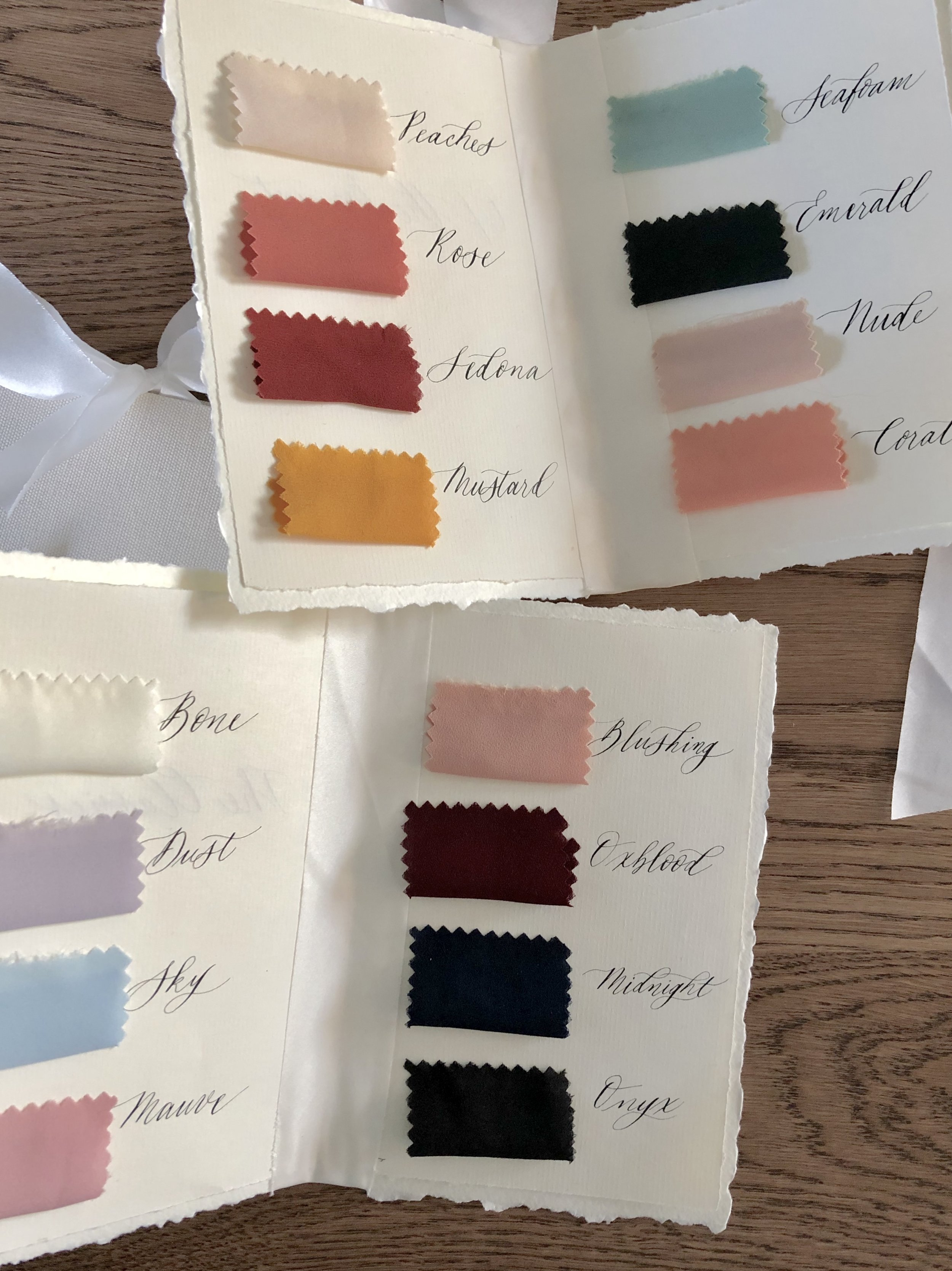 Colours for MAIDE custom bridesmaid gowns