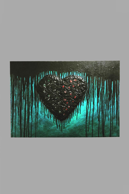 "Fringed Heart Inertia 30""x21"" $80/wk"