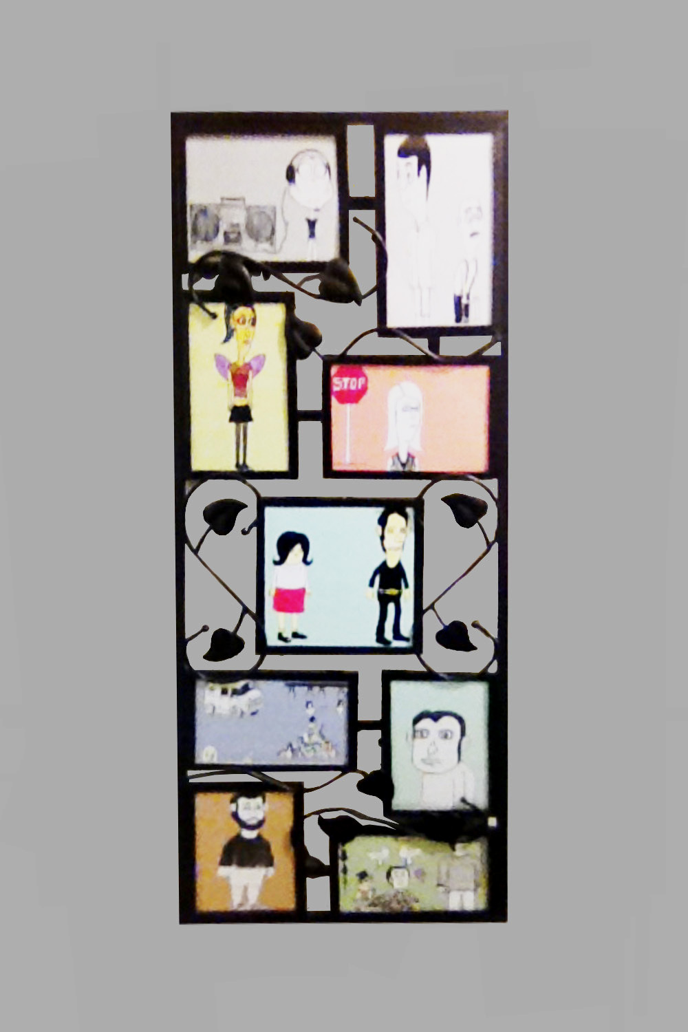 """Collage of Character 12""""x30"""" $35/wk"""