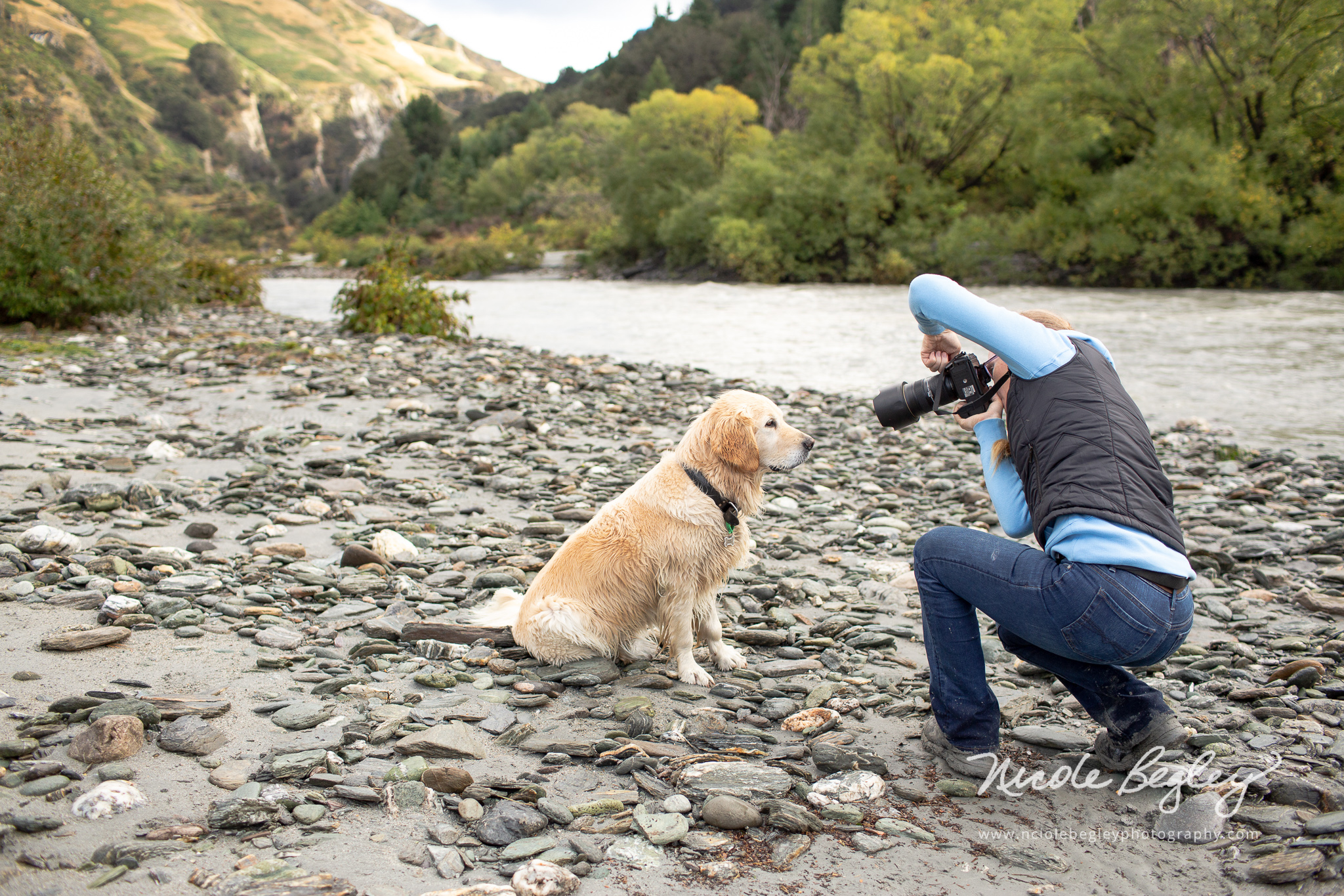 At the Shotover River taking photos of Stell, Image thanks to Nicole Begley. Look right for my resulting image.