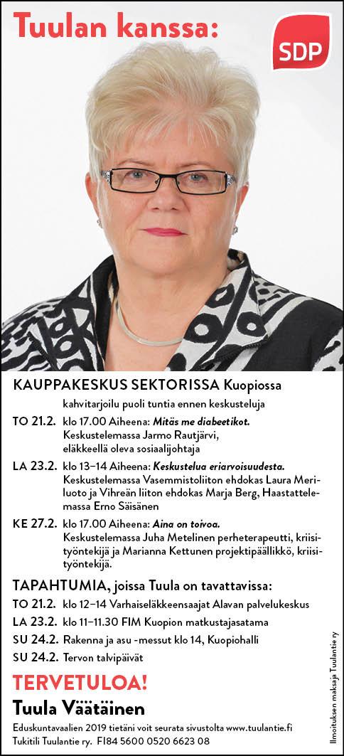 Tuulan kanssa: - 21.2 klo 17.00 Aiheena: Mitäs me diabeetikot. Keskustelemassa Jarmo Rautjärvi, eläkkeellä oleva sosiaalijohtaja23.2 klo 13-14 Aiheena: Keskustelua eriarvoisuudesta. Keskustelemassa Vasemmistoliiton ehdokas Laura Meriluoto ja Vihreän liiton ehdokas Marja Berg, Haastattelemassa Erno Säisänen27.2 klo 17.00 Aiheena: Aina on toivoa. Keskustelemassa Juha Metelinen perheterapeutti, kriisityöntekijä ja Marianna Kettunen projektipäällikkö, kriisityöntekijä.7.3 klo 17-19 Aiheena: Järjestöt hyvinvoinnin turvaajana. Keskustelemassa Leena Roosenberg, terveydenhuoltoneuvos21.3. klo 17.00 Aiheena: Yrittäjyys on hyvinvoivan yhteiskunnan peruspilareita. Keskustelemassa Silja Huhtiniemi, Kuopion alueen kauppakamarin toimitusjohtaja.28.3 klo 17.00: Aiheena Vammaisten arki. Satu Rautiainen Kuopion invalidit vpj.2.4. klo 17.00: Aiheena Vielä kerran Sotesta. Simo Kokko, yleislääketieteen dosentti4.4. klo 17.00: Aiheena: Ajankohtaista politiikasta. Keskustelemassa Johnna Marttinen, Tytti Koslonen, Simo Suksi ja Erno Säisänen11.4. klo 17.00 Jumalan kämmenellä ei pelkää ihminen. Keskustelemassa Matti Pentikäinen, Kallaveden seurakunnan kirkkoherra