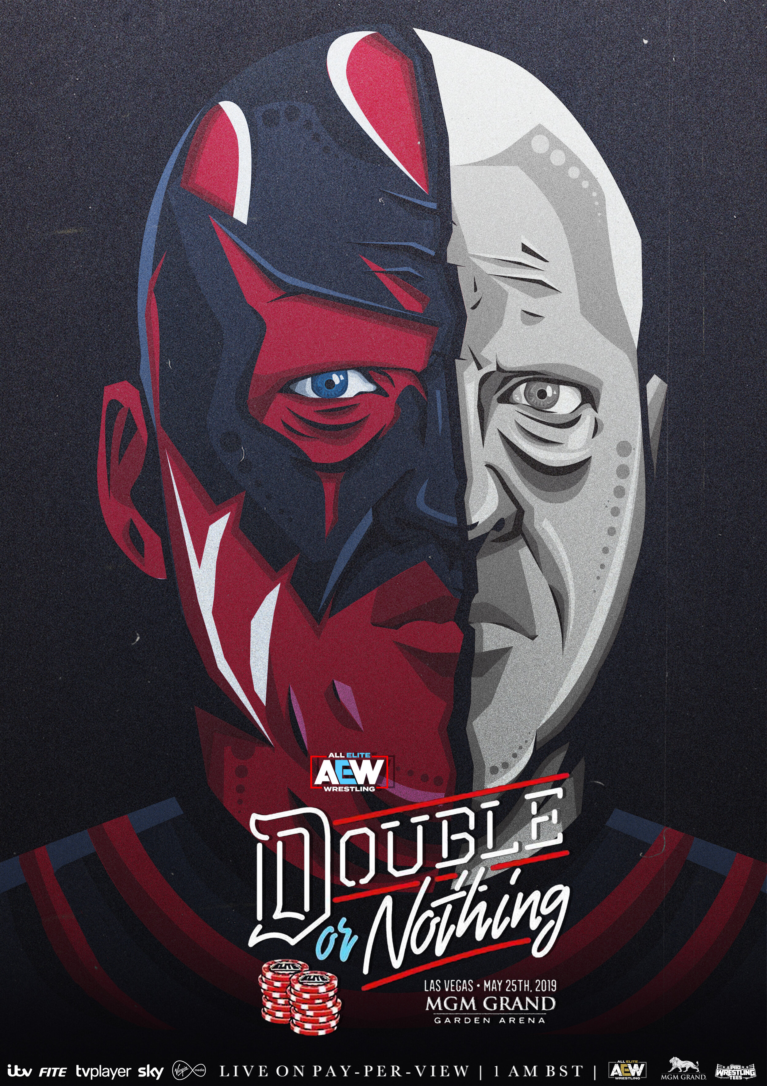 DOUBLE OR NOTHING - Digitally illustrated poster for AEW's upcoming pro wrestling event Double or Nothing.