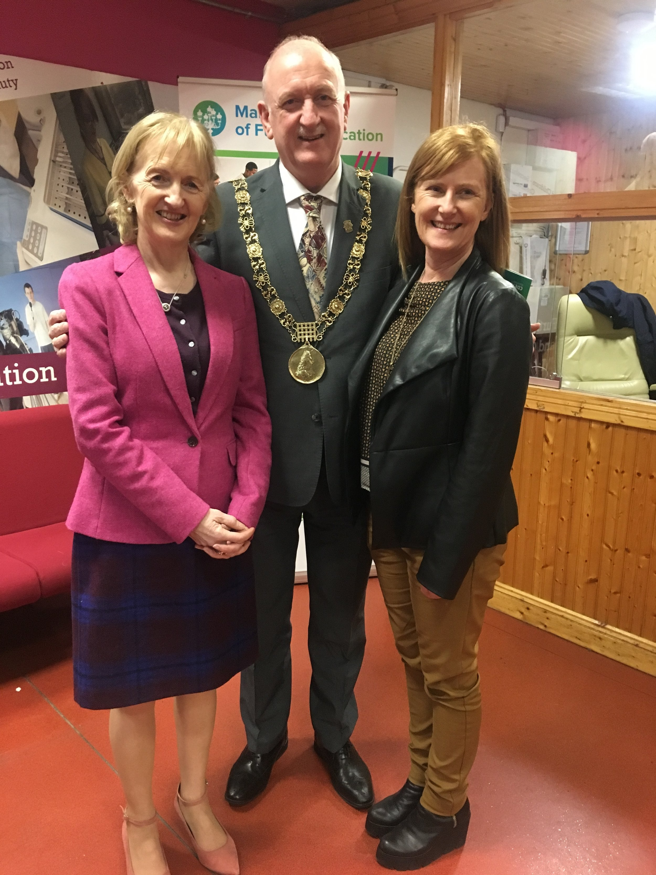 Principal Mary McAteer,  Dublin Lord Mayor Nial Ring, Vice Principal Anne Skelly