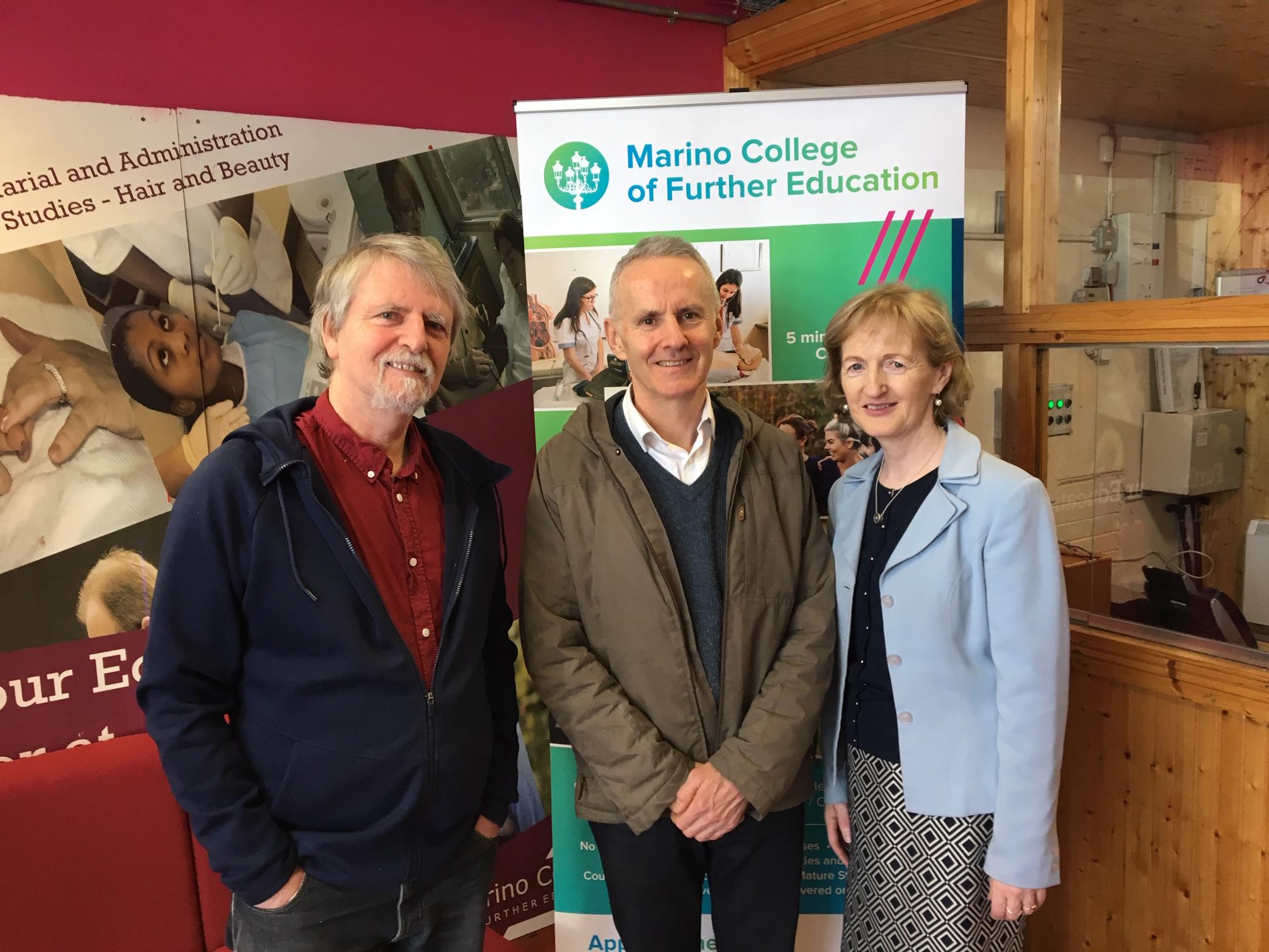 Photography Course Director Frank Barr, Green Party Councillor Ciaran Cuffe, Principal Mary McAteer