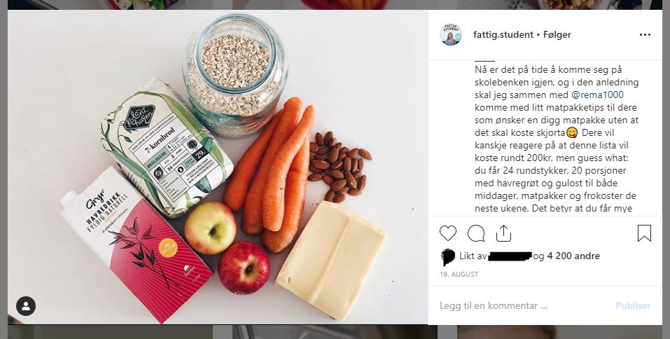 Karen Elene Thoresen driver Instagram-kontoen fatitg.student, og her finnes det masse tips til hvordan en kan spise billig og sunt og tips til ukemenyer!   Skjermdump fra fattig.student.