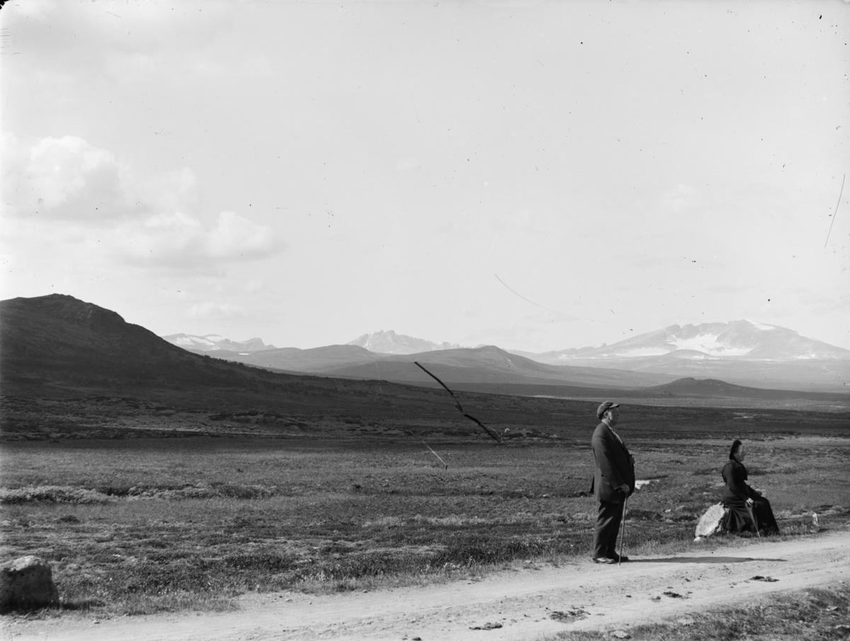 Om infrastrukturen og bygninger forandrer seg, står fjellene støtt. Snøhetta og Svånåtind fotografert fra vegen cirka 1890-1910.