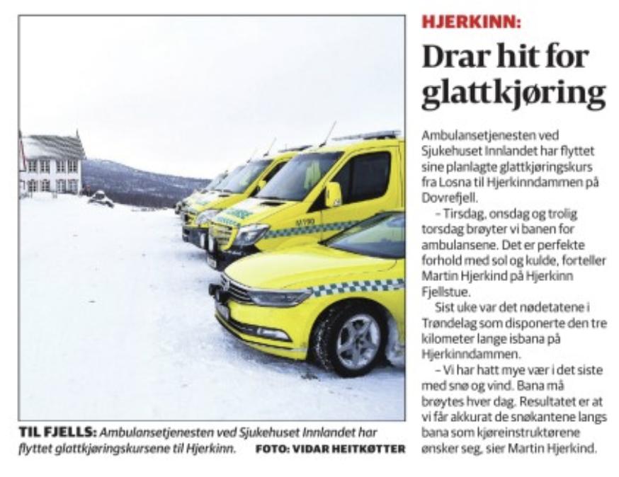 Ambulansetjenesten er én av mange som har benyttet seg av tilbudet vårt på Hjerkinndammen.  Link til nettsak på GD