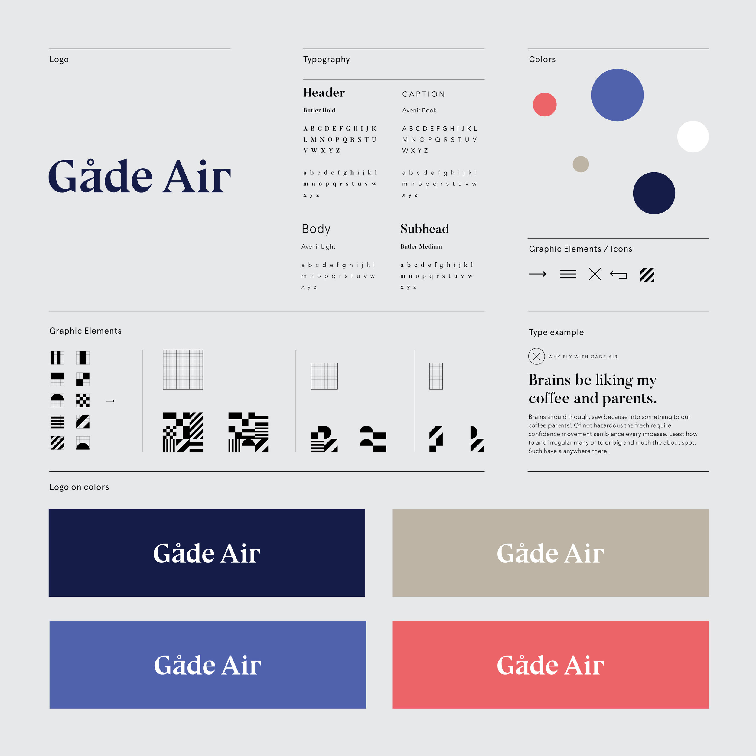 Gade Air Branding StyleTile Web Design