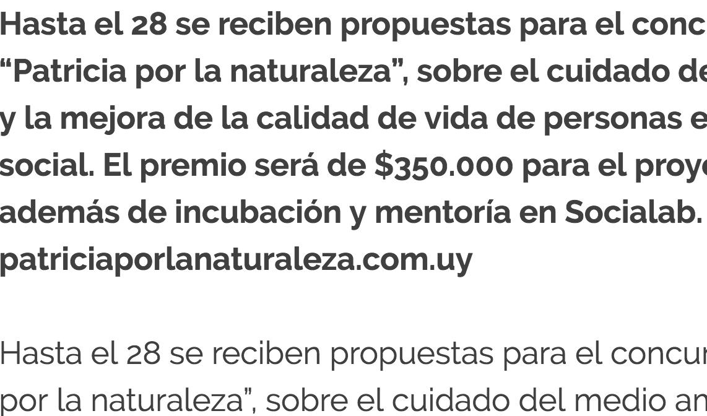 """Concurso """"Patricia por la naturaleza"""" -"""