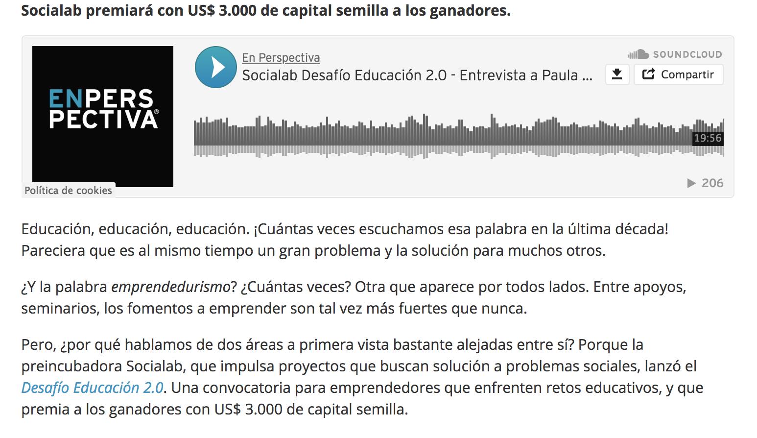 Desafío Educación 2.0: Convocatoria para propuestas innovadoras -