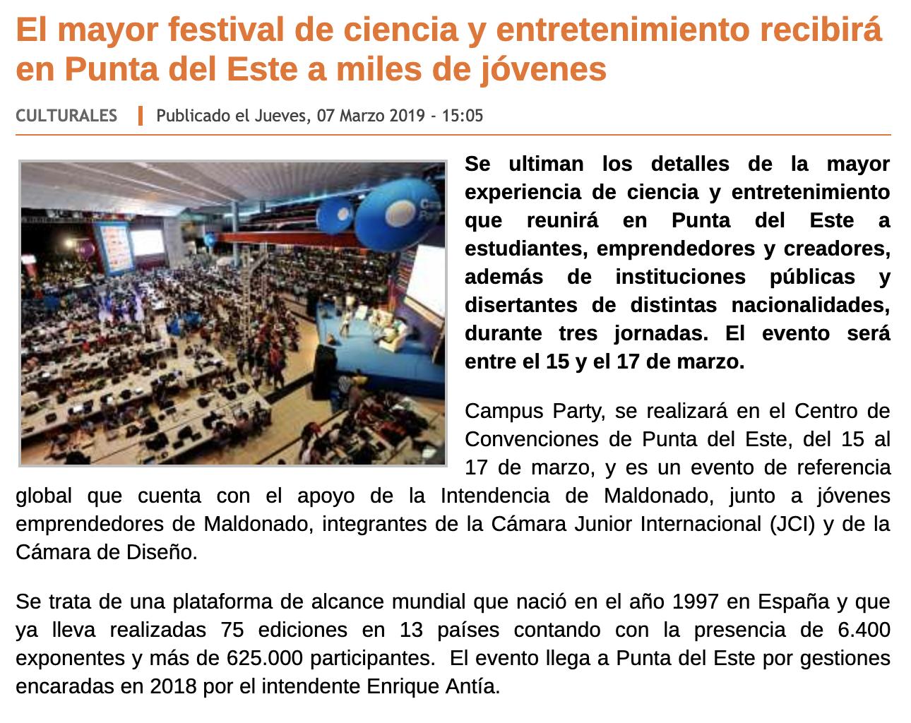 El mayor festival de ciencia y entretenimiento recibirá en Punta del Este a miles de jóvenes -