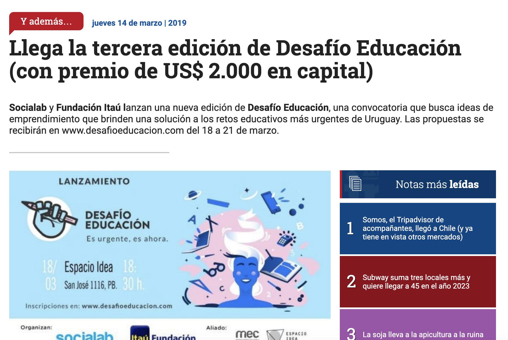 Llega la tercera edición de Desafío Educación (con premio de US$ 2.000 en capital) -