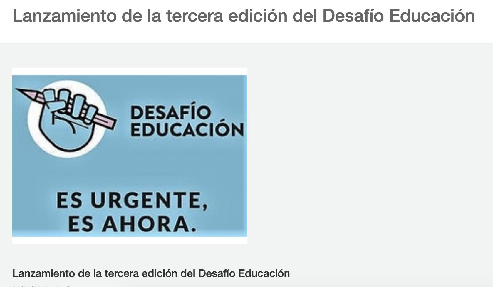 Lanzamiento de la tercera edición del Desafío Educación -