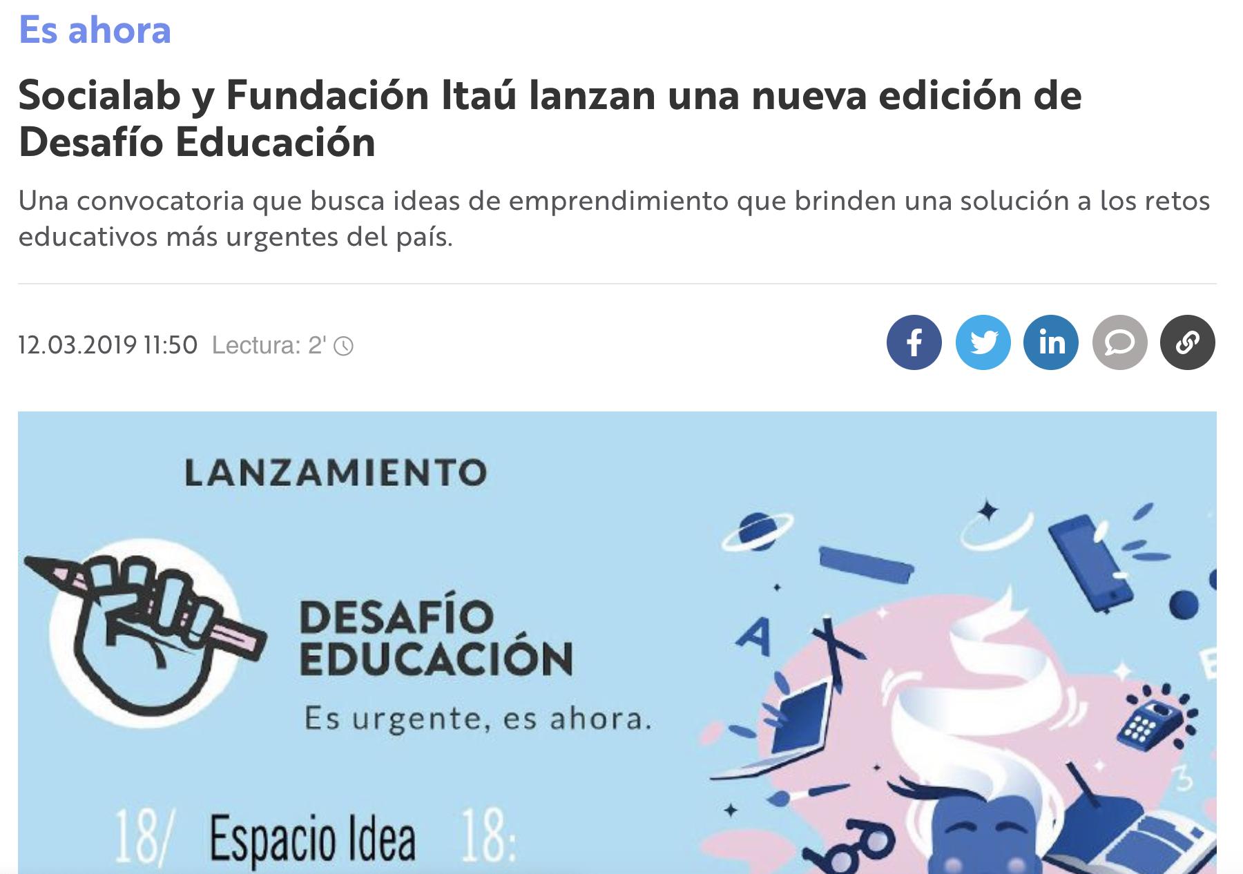 Socialab y Fundación Itaú lanzan una nueva edición de Desafío Educación -