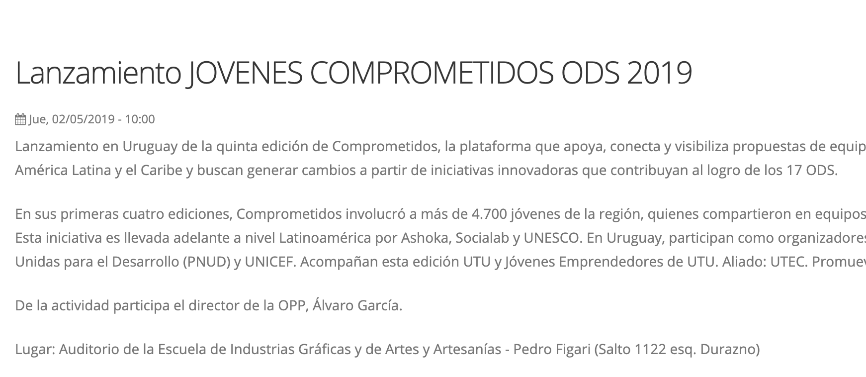 Lanzamiento JOVENES COMPROMETIDOS ODS 2019 -