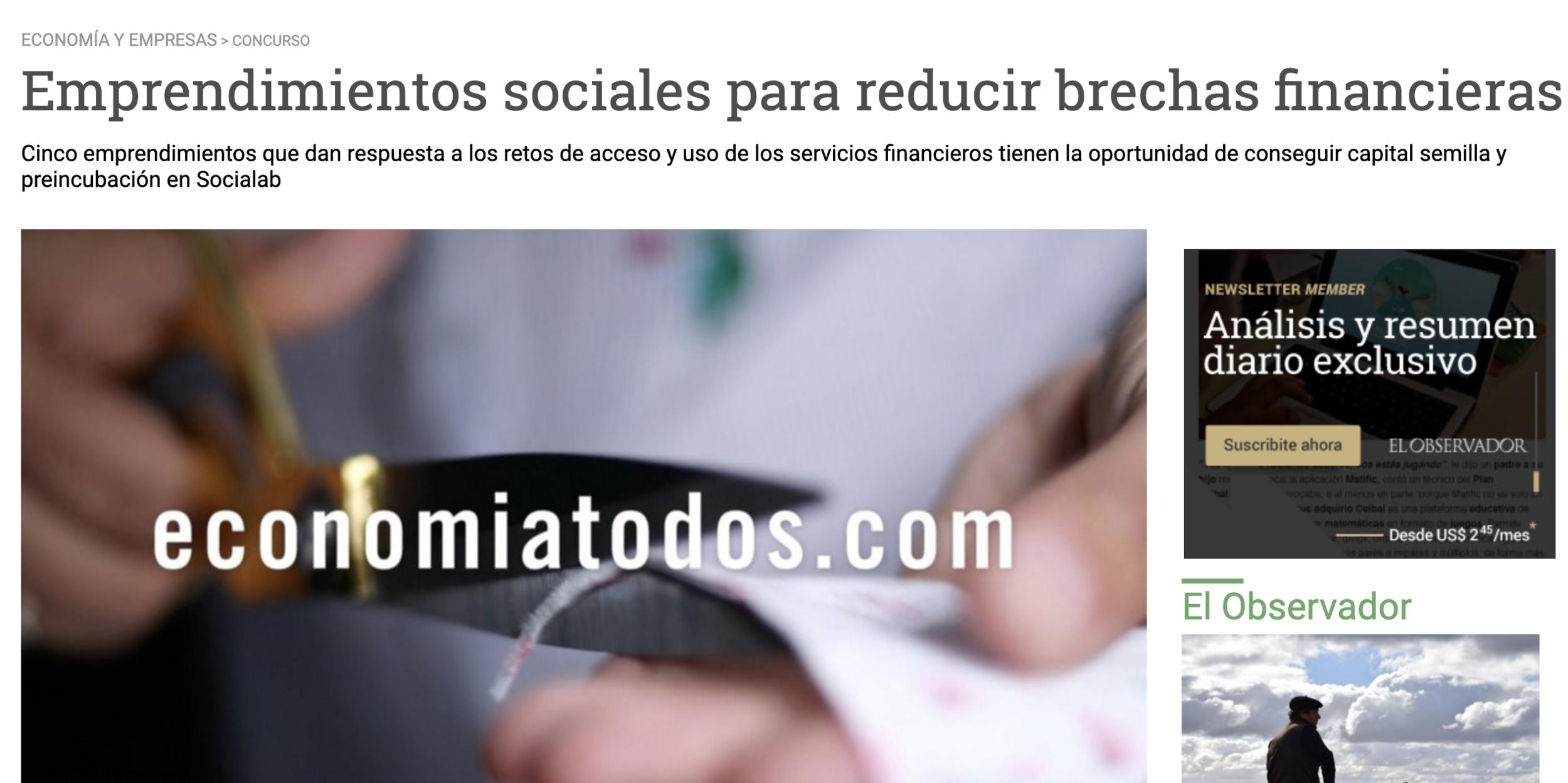 Emprendimientos sociales para reducir brechas financieras -
