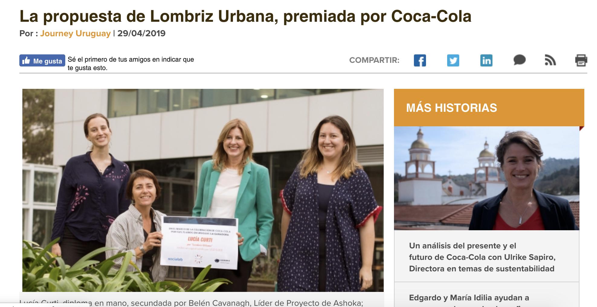 La propuesta de Lombriz Urbana, premiada por Coca-Cola -