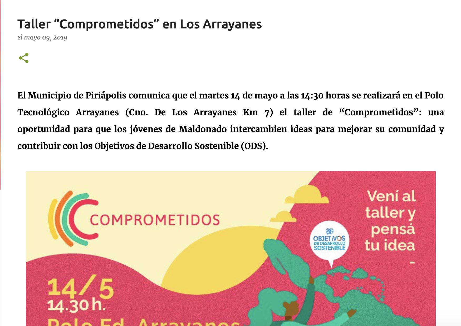 """Taller """"Comprometidos"""" en Los Arrayanes -"""