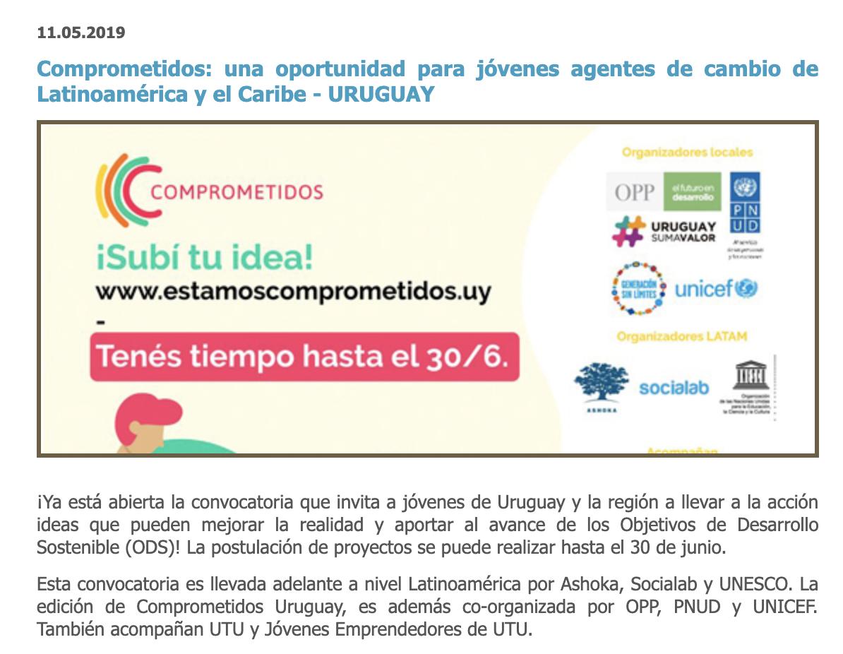 Comprometidos: una oportunidad para jóvenes agentes de cambio de Latinoamérica y el Caribe - URUGUAY -