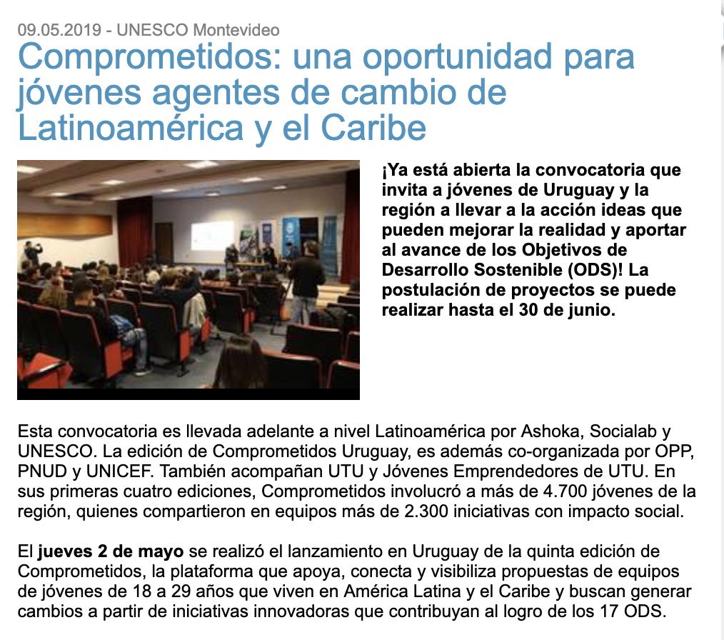 Comprometidos: una oportunidad para jóvenes agentes de cambio de Latinoamérica y el Caribe -