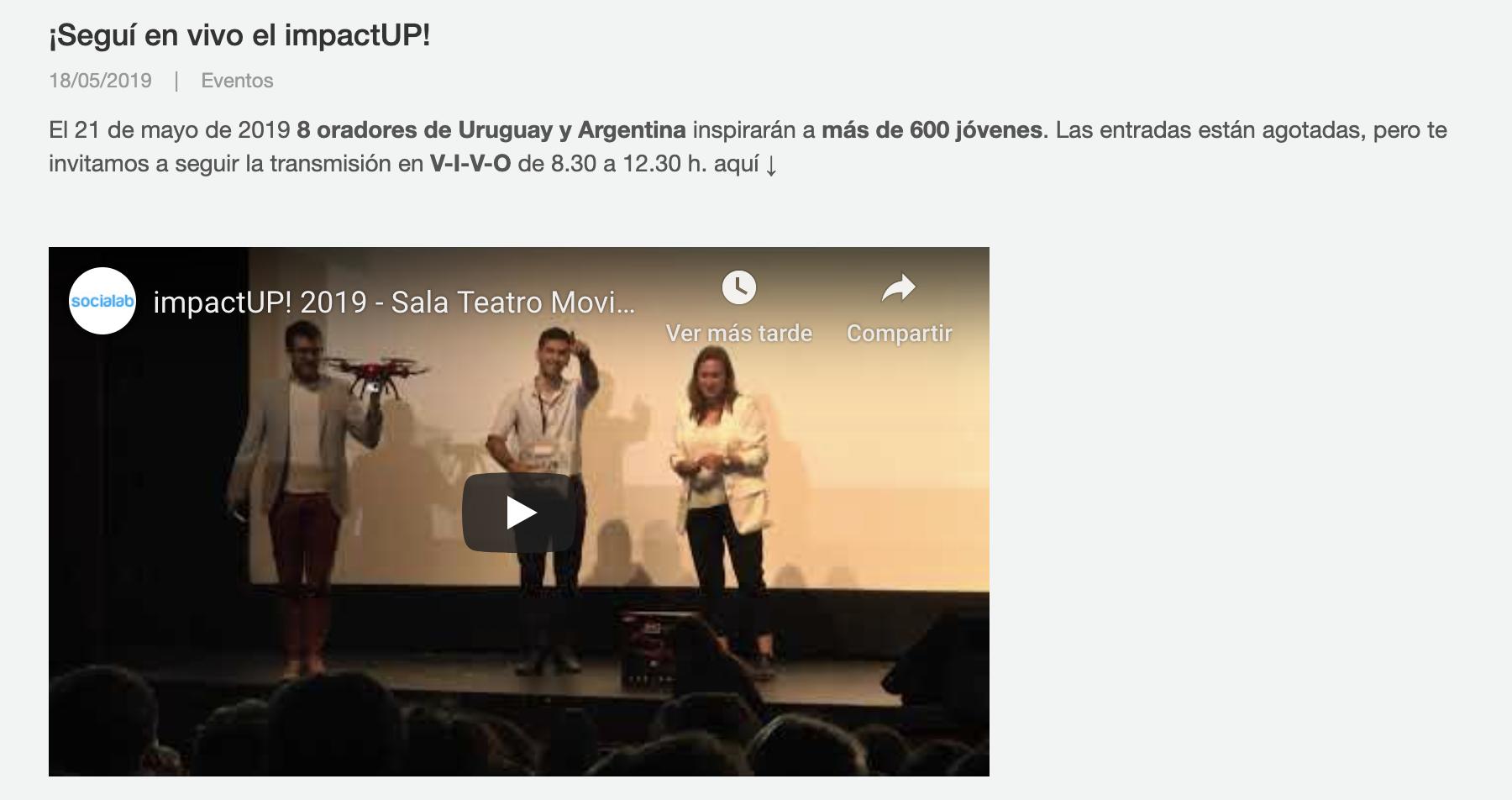 ¡Seguí en vivo el impactUP! -