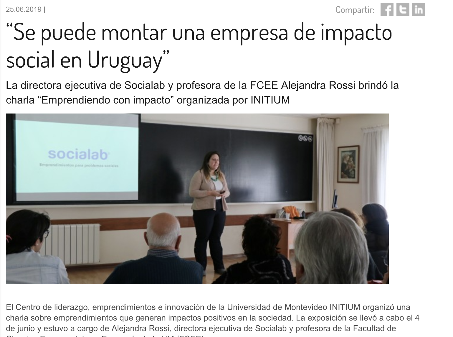 """""""Se puede montar una empresa de impacto social en Uruguay"""" -"""