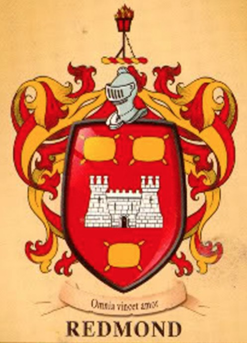 The Redmond Family Crest - A flaming beacon, represents the oldest lighthouse in Ireland, off the peninsula of the Hook, the area most closely linked with the family; in the Annals they are described as Clanna Reamainn Tighe Solais,