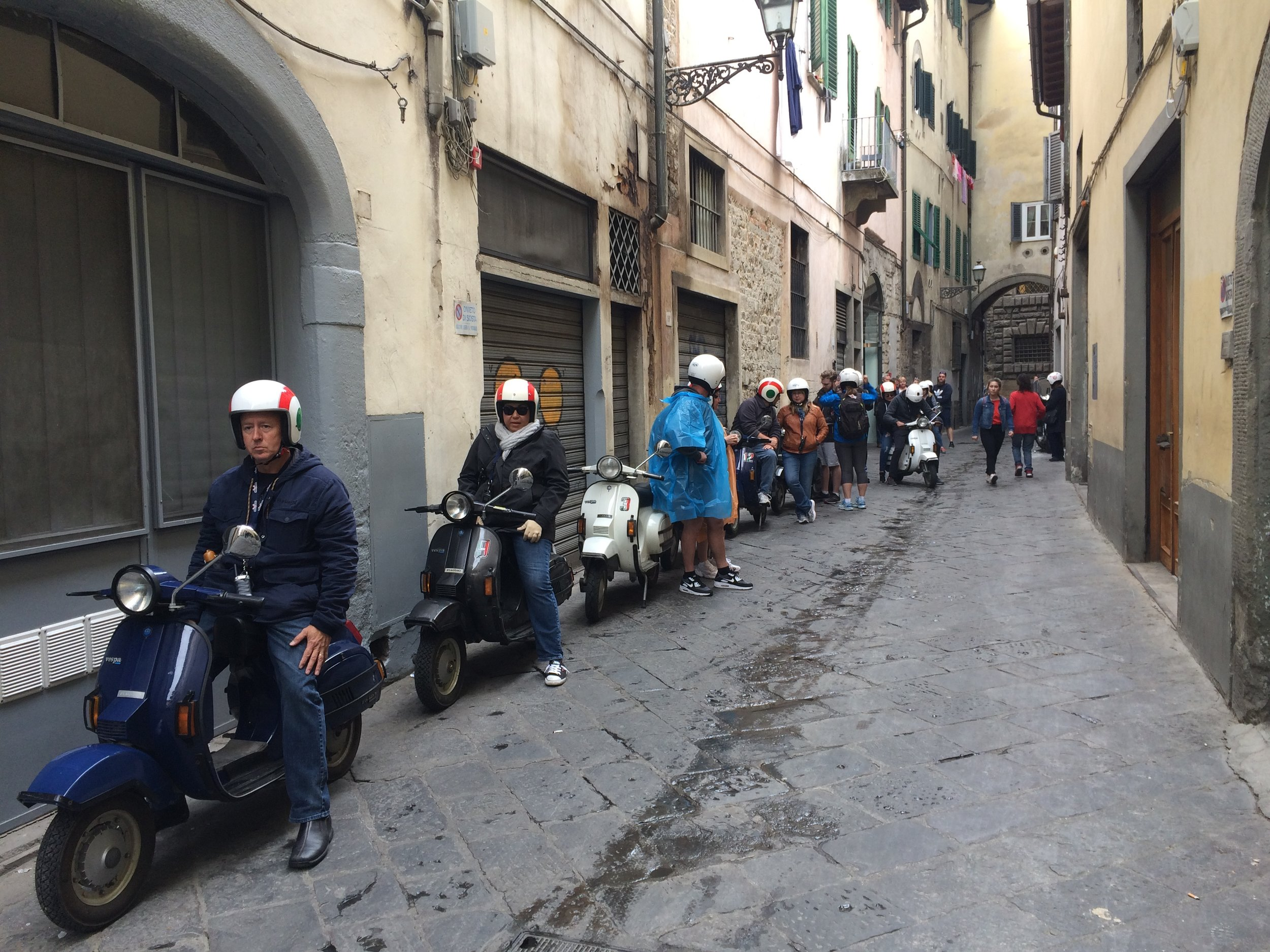 Florence Vespa tour getting ready to leave - photo by Paul Hart October 2018