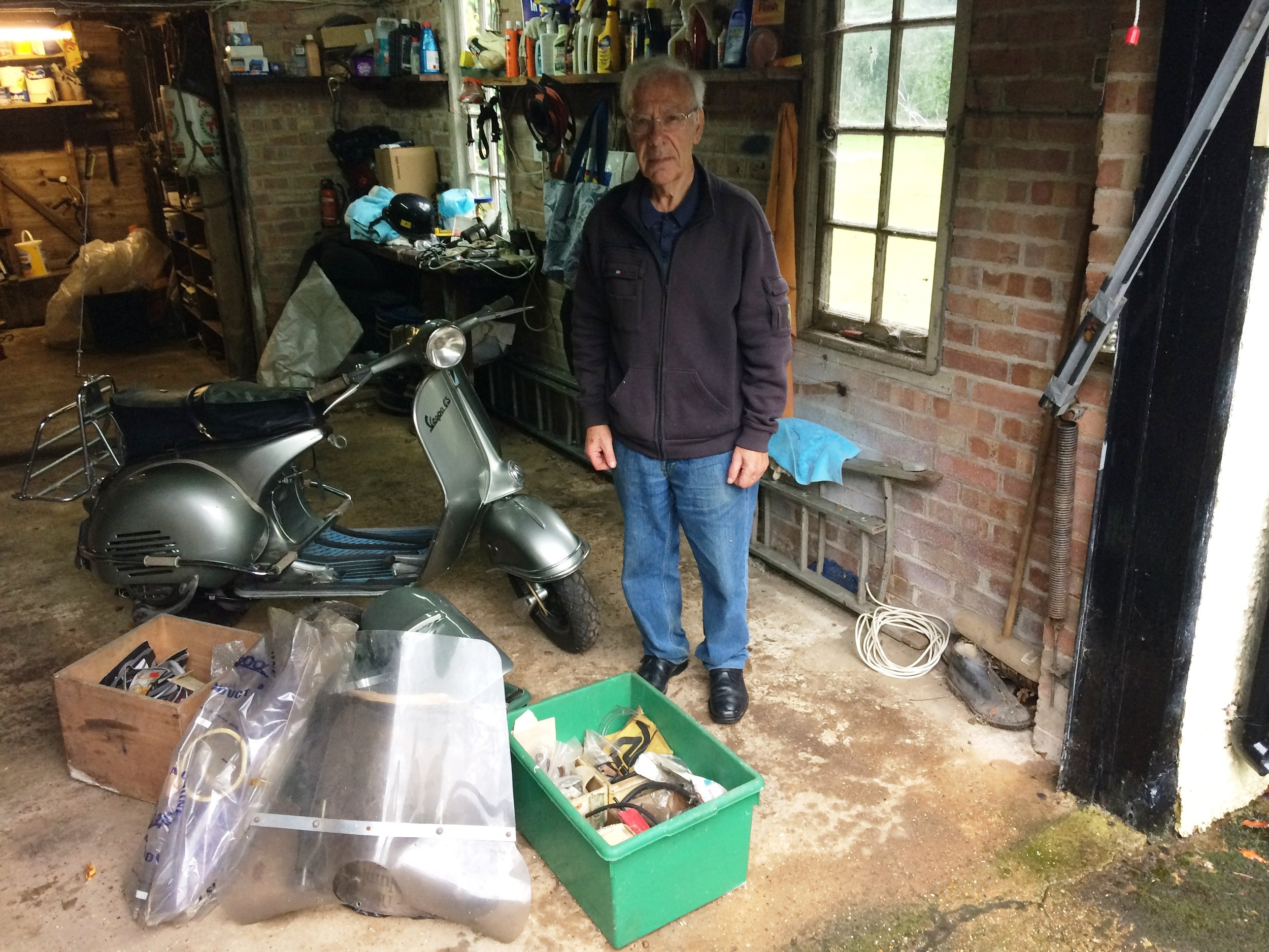 Arrivederci - Ken Morris with his GS150 VS4 for the last time before being collected by its new owner