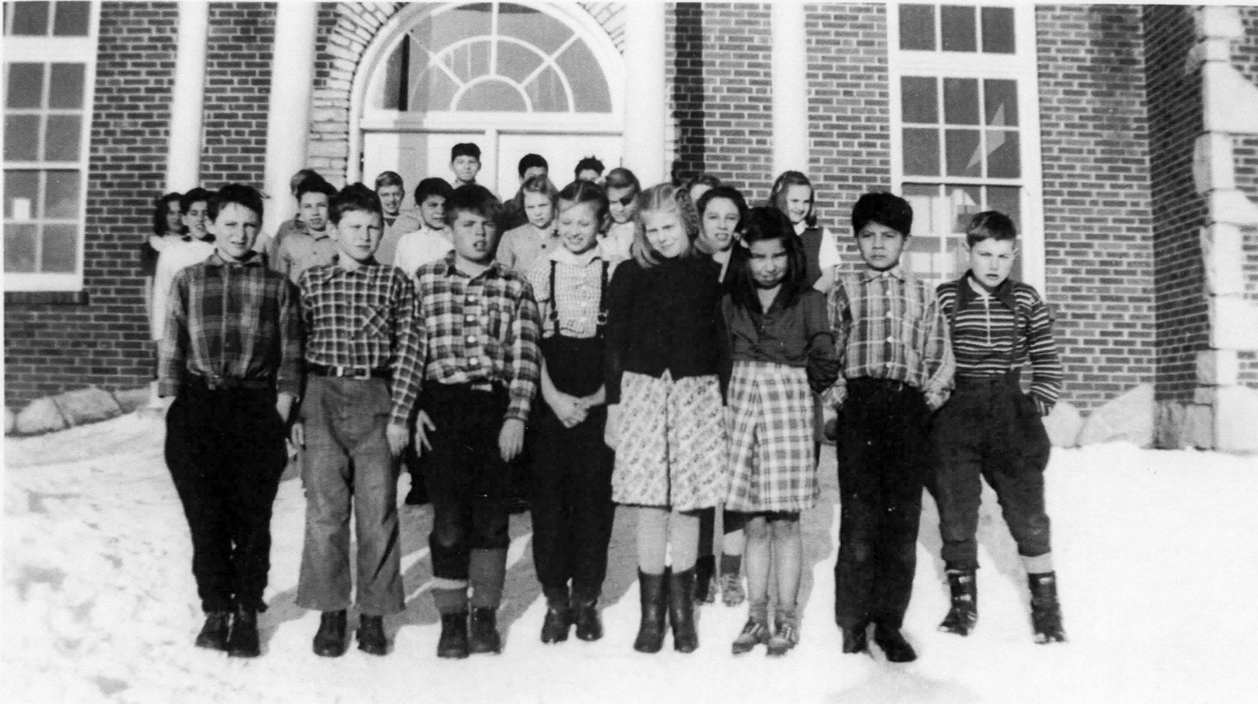 1939-1940 Class Photo - Front Row L-RGene Harrison, Tom McLeod, Bob Nye, Margaret McDonald, Cleo Pope, Shirley Andrews, Joe Andrews, _____?Back Rows L-R_____?, _____?, _____?, _____?, Jim Johnson, Jim Andrews, Wilfred Causley, Dorothy Huffman, _____?, _____?, Ireta Lindberg, _____?, _____?, Martina Mertaugh