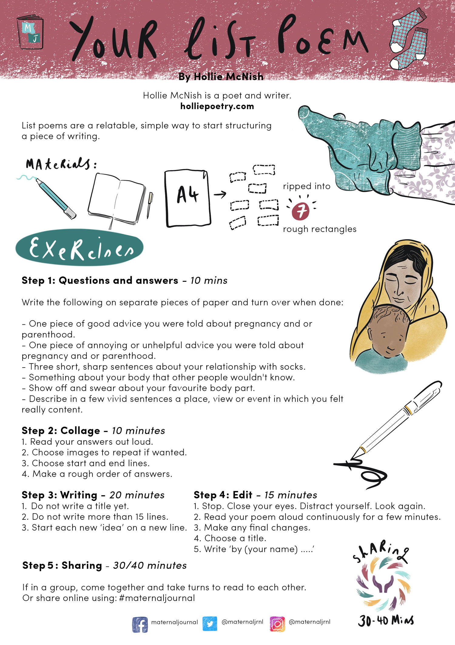 Creative journaling guide by Hollie McNish | Illustration by Merlin Strangeway | Maternal Journal 2019