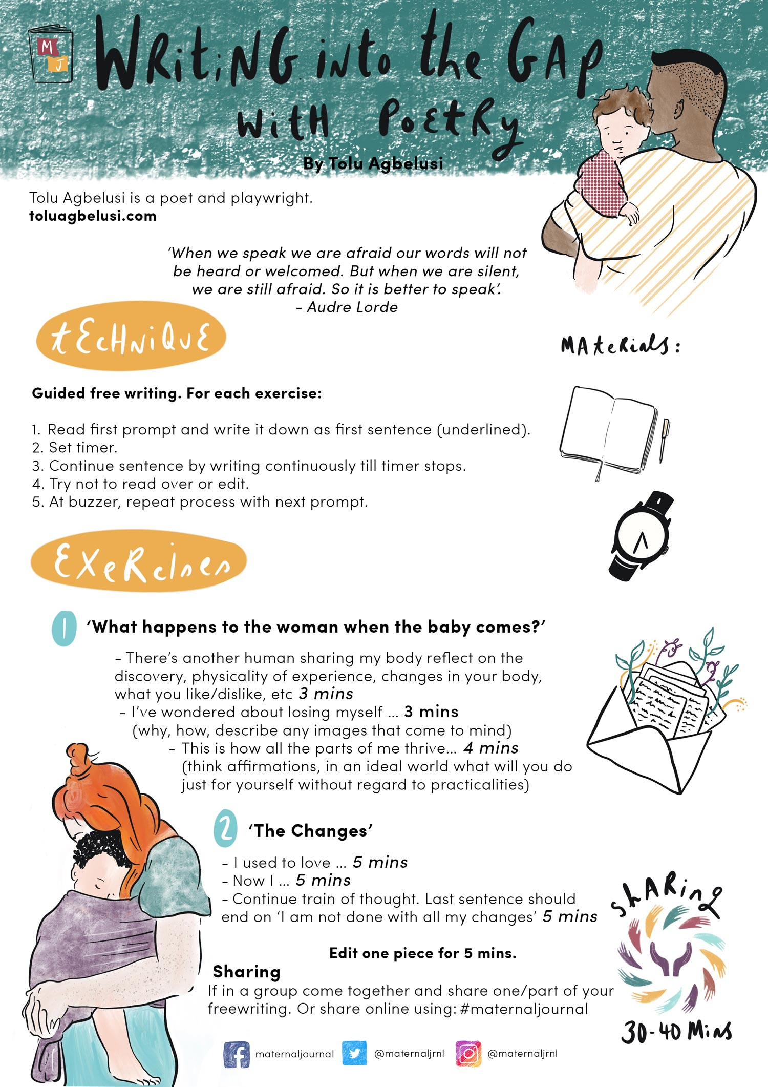 Creative journaling guide | Writing into the gap with poetry by Tolu Agbelusi | Illustration by Merlin Strangeway | Maternal Journal 2019