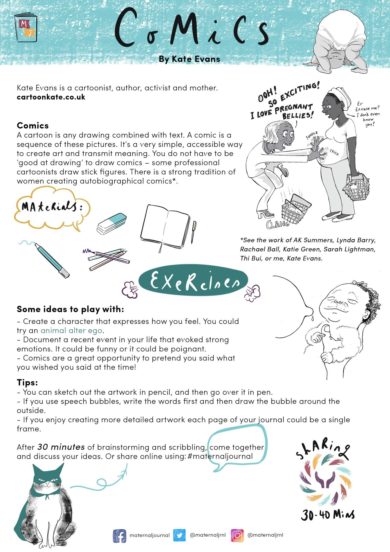 Creative journaling guide | Comics by Kate Evans | Illustration by Merlin Strangeway | Maternal Journal | 2019
