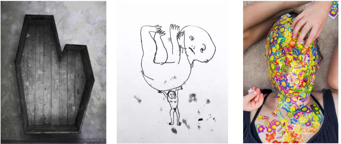 From the left, Leni Dothan, Double, 183x115x45cm, wooden structure, 2015. Sophia Marinkov Jones monoprint, dimension variable, 2016. Megan Wynne, Motivation, video still 2016, 4:35.