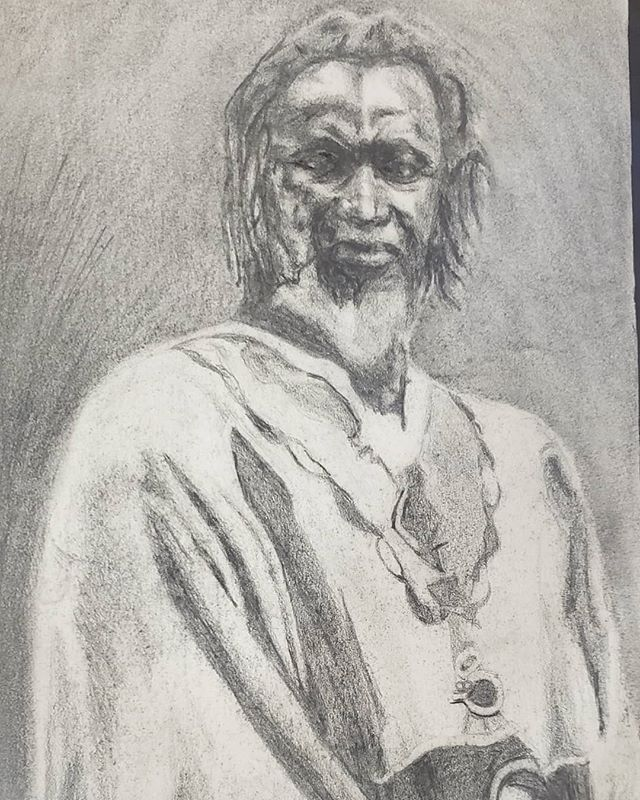 Learning formatting ... 👌👌👌 you can see him better now! #tikenjahfakoly #artistactivist #yegart #yegblackartists #portraitdrawing #africanliberation #blackwomanart