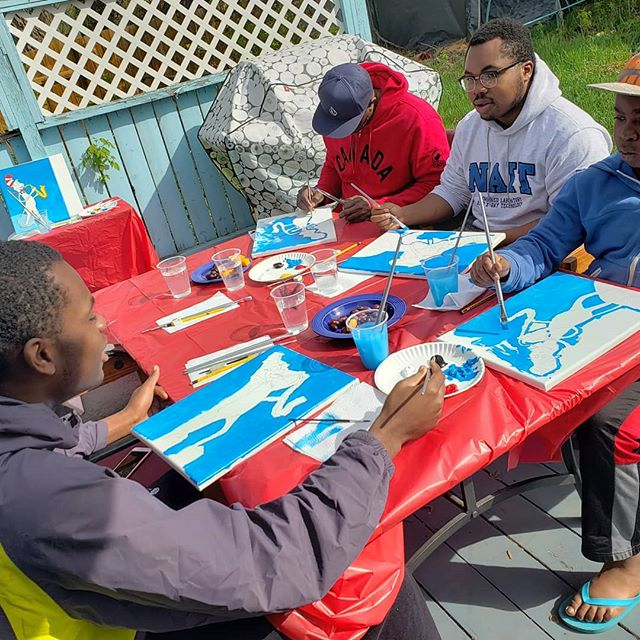 Family Paint and Create workshop on the deck. What a beautiful time!!! #paintnight #artteacherlife #artbirthdayparty #yegartteacher #artandfamilyproject